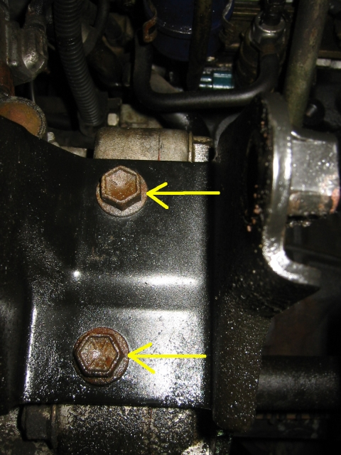 two rear bolts on motor mount bracket